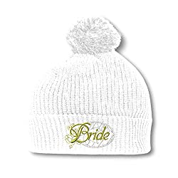 Bride Embroidery Embroidered Pom Pom Beanie Skully Hat Cap White