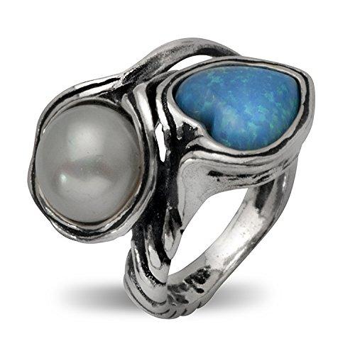 Wow! Schönes Vintage Shablool Didae-Ring Sterling-Silber 925, Opal, rund, Damen