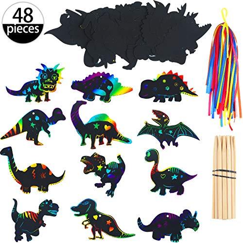 Outus 48 Stücke Dinosaurier kratzbild Bastel Kunst Set mit 24 Stücke Holzstiften und 48 Stücke Bändern für Dinosaurier Geburtstag Party Zubehör