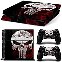 Elton Skull (Red & White) Theme 3M Skin Sticker Cover For PS4 Console And Controllers