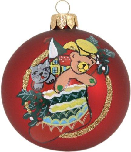 Weihnachtsbaumkugel dunkelrot handbemalt