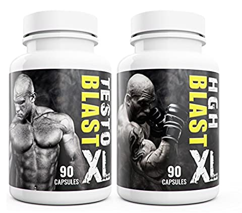 Testo Blast XL + HGH Blast XL Duo Testosterone Booster for Men 180 Capsules Fuel Extreme Muscle Growth