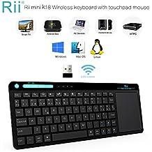 Teclado Rii K18. Teclado Inalámbrico con touchpad sensible y multitoque. Perfecto para usar con PC, Google Smart TV, KODI, Raspberry Pi2 / 3, HTPC IPTV, Box Android, XBMC, Windows 2000/XP/Vista/8/10. Layout Español (ES-MWK18 RF)