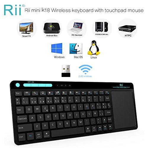 Teclado Rii K18. Teclado Inalámbrico con touchpad sensible y multitoque. Perfecto para usar con PC, Google Smart TV, KODI, Raspberry Pi2 / 3, HTPC IPTV, Box Android, XBMC, Windows 2000/XP/Vista/8/10. Layout Español (ES-MWK18