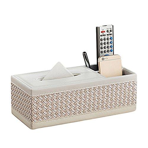 LAAT PU Leder Serviettenhalter Tissue Box Cover mit 2 Slots Home Storage für Stift Bleistift Fernbedienung Telefon Halter Serviette box Büro Schreibtisch Organizer