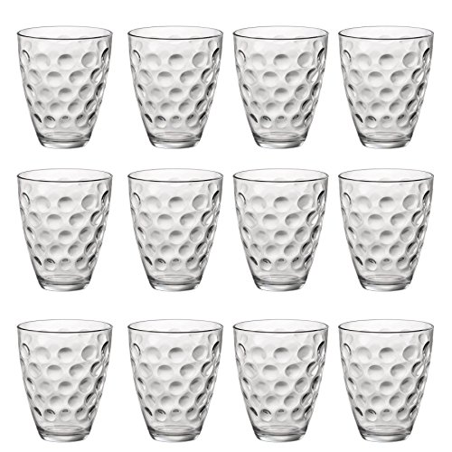 Bormioli Rocco Dots Dimpled Klar Double Old Fashioned Tumblers - 390 ml - Packung mit 12 - 12 Double Old Fashioned Gläser