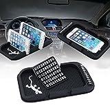 XFAY Gecko Schwarze Silikon Pad Anti-Rutsch Dashbord Mat KFZ Halterung mit Parkplatz Telefonnummer und Double Grip Groove für iPhone 4/5 / 5s / 6 / 6S (plus) / Samsung S5 / S4 / S3 / und GPS, Tablet PC, Key, Uhr, Karte, Schale, usw.