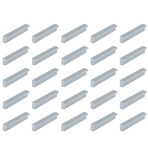 Emuca 9160725 Lote de 25 tiradores para mueble interejes 128mm en plástico ABS acabado metalizado