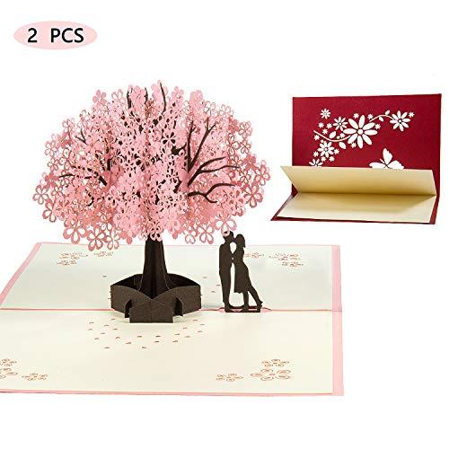Vordas welecoco biglietto d'auguri,biglietto d'auguri matrimonio carta 3d carta matrimonio anniversario san valentino la festa della mamma nozze carta pop up(1 rosa +1 rosso, doppia sorpresa)