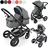 Daliya Bambimo 3in1 Pram - Pram Large Set 11-Teilig incl. Carrycot & Buggy & Seat Car - Alu-Frame / Full-Rubber Tire / Sunscreen / Cup Holder in Dark-Grey
