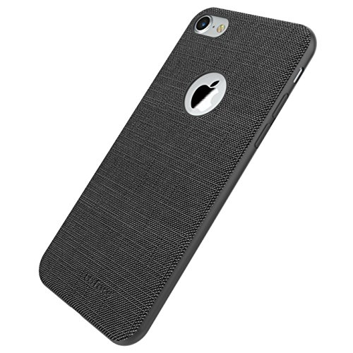 iPhone 7 Canvas Fabric Case Ultra-Slim Linen Cloth Textured Non Slip Case With Built-in Metal Sheet [ Compatible with Magnetic Car Mount Holder ] Scratch Resistant Protective Back Cover Bumper Shell f Nero