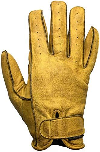 HELSTONS Hiro Ete - Guanti da moto in pelle morbida, colore: Nero/Oro, T11