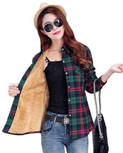Smile YKK Chemisier Automne Femme Blouse Coton Velours Motif Carreaux Veste Hiver Chaud Bleu Vert Rouge