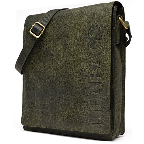 LEABAGS London - Borsa Messenger in vera pelle di bufalo - Look vintage - Marrone chiaro  1 PineGreen