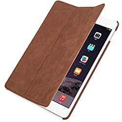 StilGut Couverture, funda de cuero verdadera para el nuevo iPad Air 2 con función Smart-Cover, Cognac Vintage