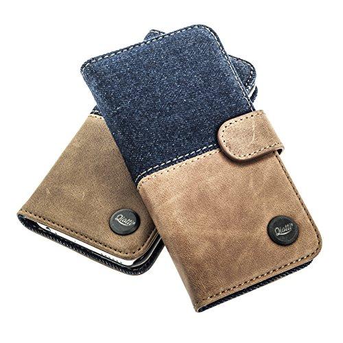 Black Magic Wallet (QIOTTI > SAMSUNG GALAXY A5 (2015) < incl. PANZERGLAS H9 HD+ Booklet Wallet Case Hülle Premium Tasche aus echtem Kalbsleder mit KARTENFÄCHER. SMART LINE KOLLEKTION (DENIM BRAUN))