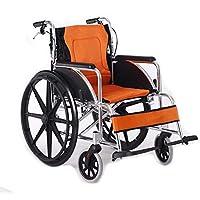 Portátil Multifunción Silla De Ruedas Aleación De Aluminio Plegable Ligero Carretilla Discapacitado Silla De Ruedas Coche Mayor Naranja