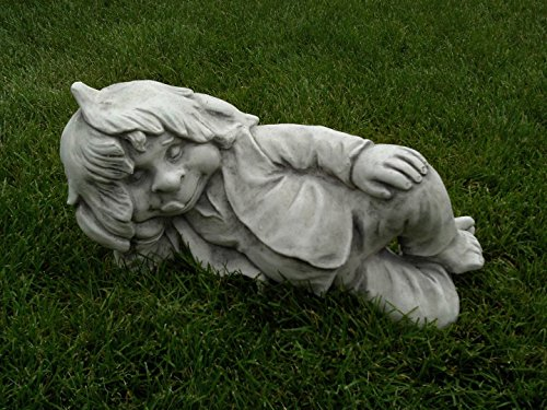D944 Lustiger Gnom ,,ich liege hier und schlafe'' Troll Gartenfigur Steinfigur