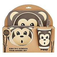 Bamboo Fibre Eco Friendly Kids Dinner Sets. Brilliant Animal Designs (Monkey)