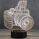 3D Nachtlicht LED Acryl Holzsockel USB Kreative Stereo Vision Tischlampe (Kamera)