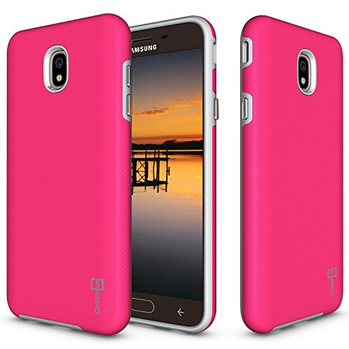 Samsung Galaxy J7V 2nd Generation Fall, Galaxy J72018/J7Verfeinern/J7Star/J7Aero Case/J7Krone, coveron [Robuste Series], Handy Cover mit Easy-Press-Metall Knöpfe, hot pink (Kind Handys Att)