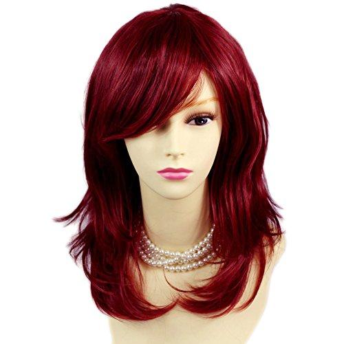 Face Frame Bilderrahmen gewellt Enden Medium Burgund Mix Rot Damen Perücken Haut top Haar Welliges UK