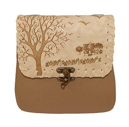 Damen Handtasche Tasche Baum Vintage Retro Klein Cappuchino