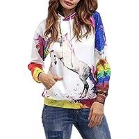 Camicia con Cappuccio Mujer Elegantes Moda Único Pin-Up Primavera Otoño Impresión 3D Unicornio Modernas
