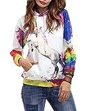 Kapuzenshirt Damen Unique Pin-up Frühling Herbst Kapuzenpullis Langarm Einhorn 3D Druck Kleidung Mit Taschen Kapuzenpullover Hoodie Sweatshirt (Color : Weiß, Size : 2XL)