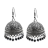 Silvesto India (Festival Specilal) Hematite 925 Silver Plated Gorgeous Jhumki Jhumka Earrings PG-28095