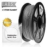 3D Filament, ABS 3D Printer Filament 1.75mm, 1KG Spool(2.2lbs),3D Printing Filament Dimensional Accuracy +/- 0.02mm, Bonus with 5M PCL Nozzle Cleaning Filament (Grey)