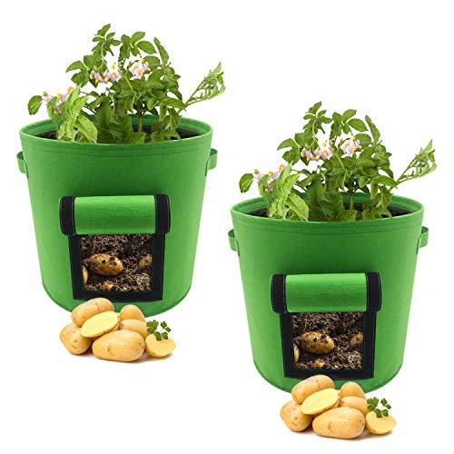 Fixkit Lot de 2 Sacs à Plantes 30L en Non Tissé, Pot Geotextile Vert, Ø 36cm Hauteur 35cm 400g / m², Sac à Plantes Légumes de Jardin avec Fenêtre, Poignée