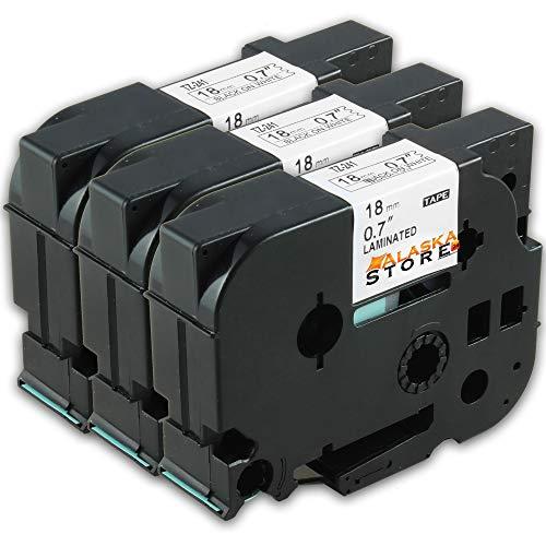3x Compatibile Nastro Etichette Brother TZe241 TZ-241 Nero su Bianco 18mm x 8m con Tze Tape Brother P-Touch P-T 1000W PT-1000 PT-H105 PT-1080 PT-H75
