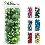 Valery Madelyn 24 Piezas Bolas de Navidad de 4cm, Adornos Navideños para Arbol, Decoración de Bolas de Navidad Inastillable Plástico de Verde, Regalos de Colgantes de Navidad (Coleccion Clasica)