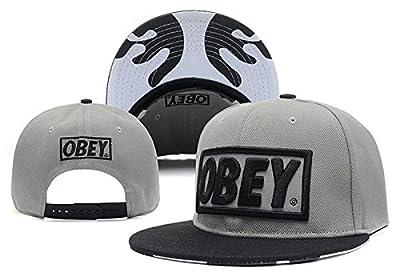 Unisex OBEY Herren Bboy Mode einstellbar Hysteresen-Baseball-Mütze Hip Hop-Kappe (grau, schwarz-Logo)