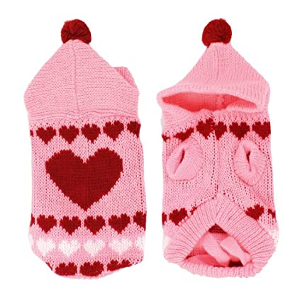 sourcingmap® Pet Dog Pink Knitted Hoodie Heart Printed Clothing Sweater Size XXS 1