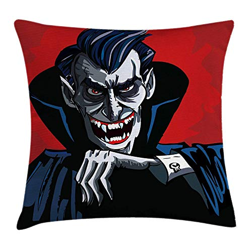 Vampire Throw Pillow Cushion Cover, Cartoon Cruel Old Man with Cape Sharp Teeth Evil Creepy Smile Halloween Theme, Decorative Square Accent Pillow Case, 18 X 18 inches, Blue Red Grey