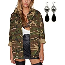 Sitengle Mujeres Camuflaje Militar Chaquetas Abrigos Vintage Casual Loose Army Verde Bolsillos Outwear