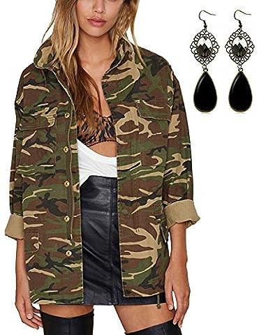 Sitengle Damen Mäntel Retro Jacken mit Military-Stil Casual Camouflage Tarnung Jacke Outwear Grün