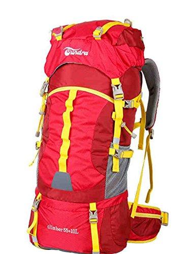 sac à dos randonnée Voyage sac en plein air sac à dos d'alpinisme grands hommes et les femmes la capacité 55L65L Sacs à dos de randonnée ( Couleur : Rouge , taille : 55+10L )