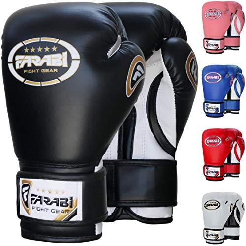 Farabi 8oz Junior Boxing Gloves Kids Boxing Gloves 8-oz Boxing Gloves Sparring, Training Bag Mitt Gloves for Punching, Sparring, Workout, Training (8-OZ, Black)