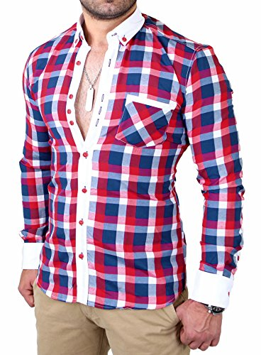 Reslad Herren Hemd Karo Muster Button-Down-Kragen Langarmhemd RS-7213 Rot