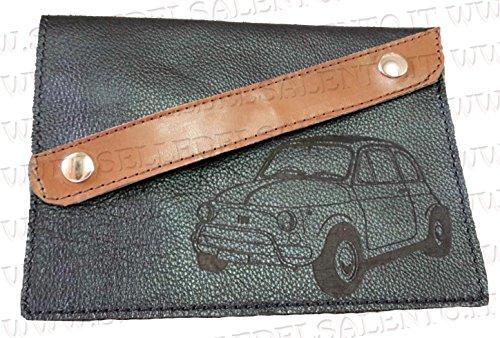 Portadocumenti portalibretto Pelle Auto Fiat Cinquecento 500 Vintage Prima Serie Striscia obliqu