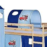 IDIMEX Tunnel für Hochbett Auto Rutschbett Spielbett Kinderbett in hellblau/dunkelblau