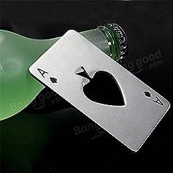 Generic Unique Personalized Stainless Steel Poker Card Beer Bottle Opener Beer Soda Bottle Cap Opener Spades Bar Pub Club Tool Gift
