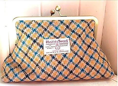 Harris tweed clutch handbag
