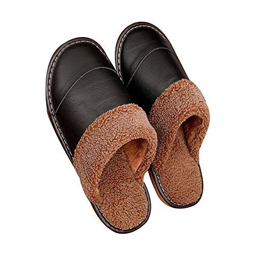 TELLW Pantoufles en Cuir Hommes et Femmes Accueil Non-Slip Chaud Plancher en Bois Intérieur Confort Accueil Coton Pantoufles Hiver Noir