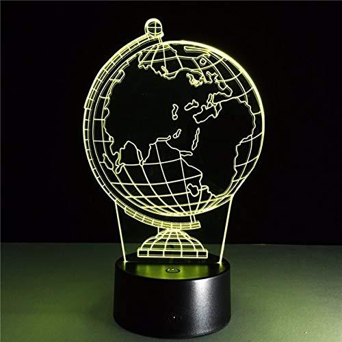 GUANGYING Luz Nocturna Globo Terráqueo Diy Atmósfera Lámpara Led Ilusión 3D Lámpara Decorativa De La Noche Usb Luz De La Noche Con 7 Colores