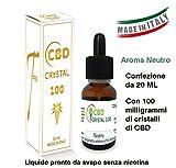 E-liquido 20 ml e 100mg CBD Crystal Italia liquido, senza nicotina né tabacco da Volumica Aroma naturale
