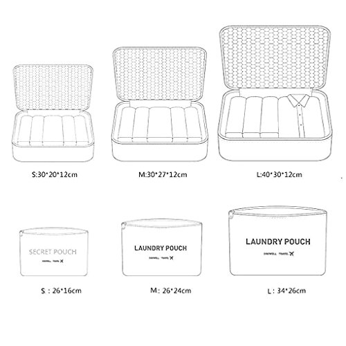 Reise Gepäck Organizer Taschen 6pcs Set Essential bags-in-bag Wasserdicht Nylon Verpackung Cubes Koffer Storage Wäschesack Staubbeutel Cosmetics Fall Kleidung Unterwäsche Schuhe Tasche Beutel, 1#, L 2#